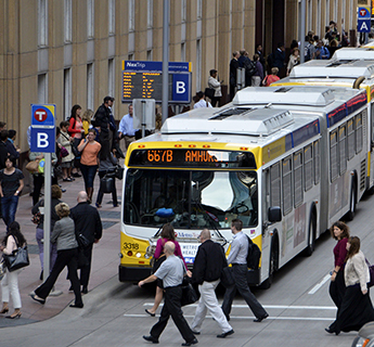 Buses and commuters in downtown Minneapolis
