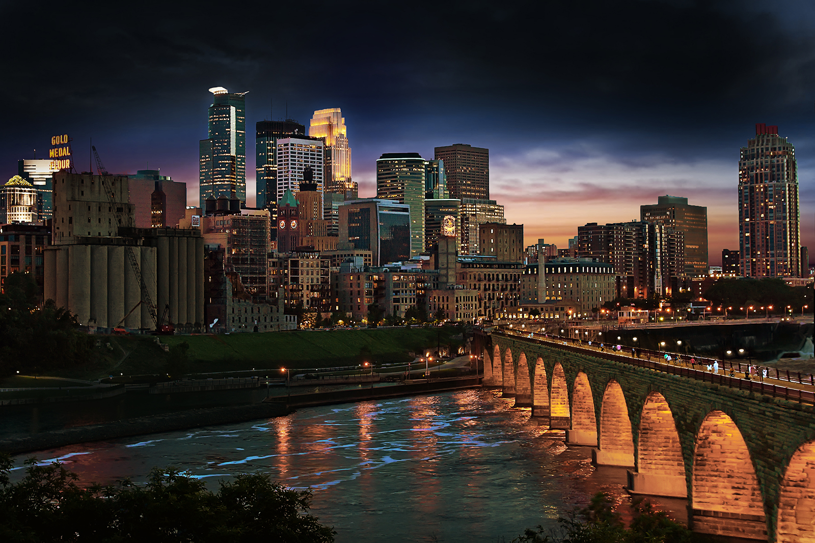 Downtown and Stone Arch Bridge at night