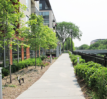 Public walkway outside private development