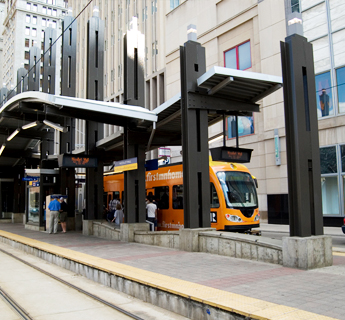 LRT at station on Nicollet